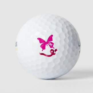 Breast Cancer Awareness with Pink Ribbon   Golf Balls