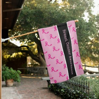 Breast Cancer Awareness with Pink Ribbon  House Flag