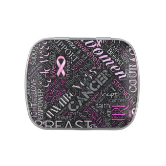 Breast Cancer Awareness Word Cloud ID261 Candy Tins