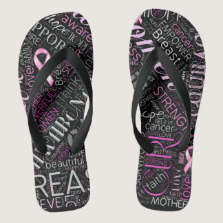 Breast Cancer Awareness Word Cloud ID261 Flip Flops