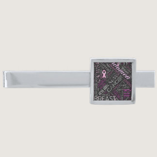 Breast Cancer Awareness Word Cloud ID261 Silver Finish Tie Bar