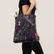 Breast Cancer Awareness Word Cloud ID261 Tote Bag