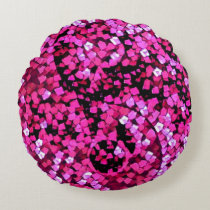 Breast Cancer Awareness Yin Yang Artisan Abstract Round Pillow