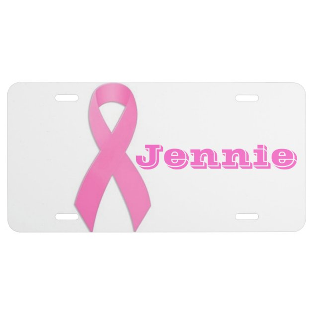 Pink Ribbon Personalized Custom License Plate Engraved Auto Car Tag Vanity Plate