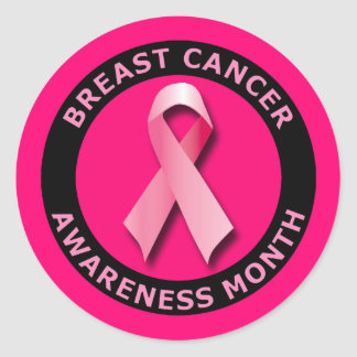 BREAST CANCER AWARNESS MONTH CLASSIC ROUND STICKER