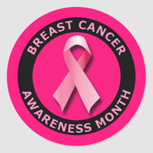 BREAST CANCER AWARNESS MONTH ROUND STICKERS