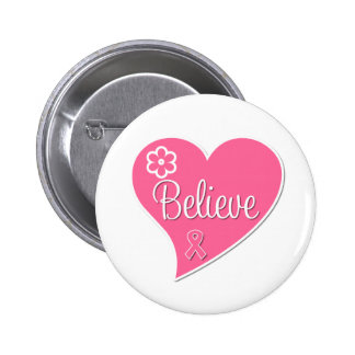 Breast Cancer Believe Pink Heart Pins