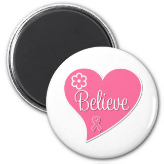 Breast Cancer Believe Pink Heart Refrigerator Magnets