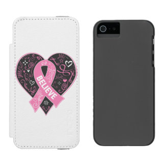 Breast Cancer Believe Ribbon Heart Incipio Watson™ iPhone 5 Wallet Case
