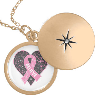 Breast Cancer Believe Ribbon Heart Round Locket Necklace