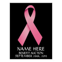 Breast Cancer Benefit Auction Ribbon Poster