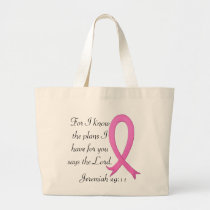 Breast Cancer bible verse pink ribbon tote bag
