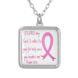 Breast Cancer bible verse Psalm 30:2 neck Square Pendant Necklace