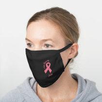 Breast Cancer Blush Pink Ribbon Black Cotton Face Mask