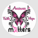 Breast Cancer Butterfly 7 Classic Round Sticker