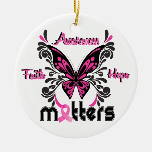Breast Cancer Butterfly 7 Double-Sided Ceramic Round Christmas Ornament