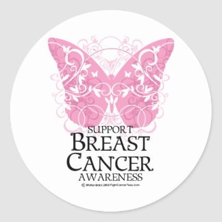 Breast Cancer Butterfly Classic Round Sticker