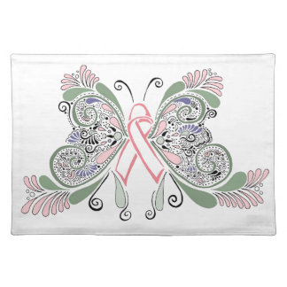 Breast Cancer Butterfly Cloth Placemat