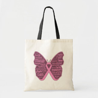 Breast Cancer Butterfly Collage of Words Canvas Bags
