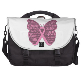 Breast Cancer Butterfly Collage of Words Commuter Bag