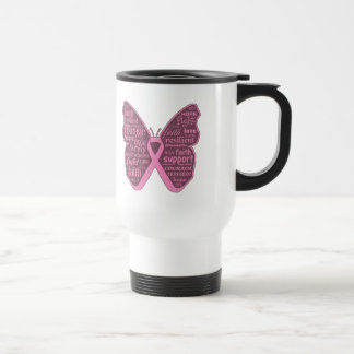 Breast Cancer Butterfly Collage of Words Mug