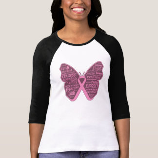 Breast Cancer Butterfly Collage of Words T-Shirt