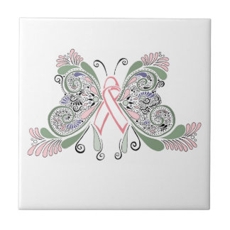 Breast Cancer Butterfly Design Tile