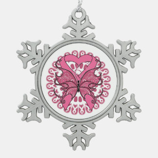 Breast Cancer Butterfly Heart Ribbon Snowflake Pewter Christmas Ornament