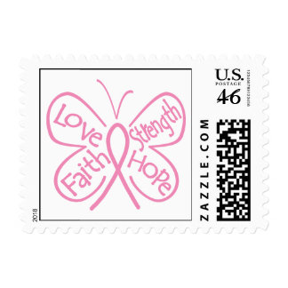 Breast Cancer Butterfly Inspiring Words Postage Stamps