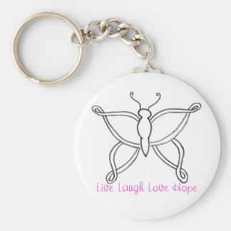Breast Cancer Butterfly Keychain