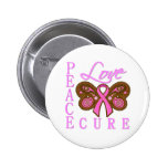 Breast Cancer Butterfly Peace Love Cure Pinback Buttons
