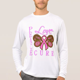 Breast Cancer Butterfly Peace Love Cure Tshirts