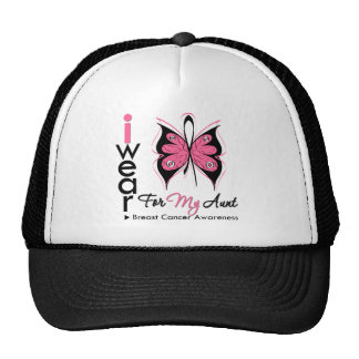 Breast Cancer Butterfly Ribbon For My Aunt Mesh Hats