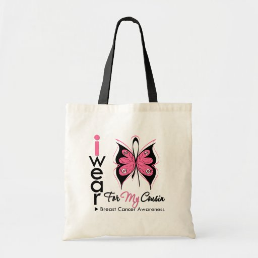 Breast Cancer Butterfly Ribbon For My Cousin Tote Bag