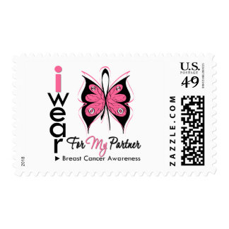 Breast Cancer Butterfly Ribbon For My Partner Postage Stamp