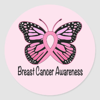 Breast Cancer Butterfly Ribbon of Hope Classic Round Sticker