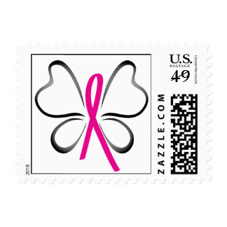 Breast Cancer Butterfly Ribbon Postage
