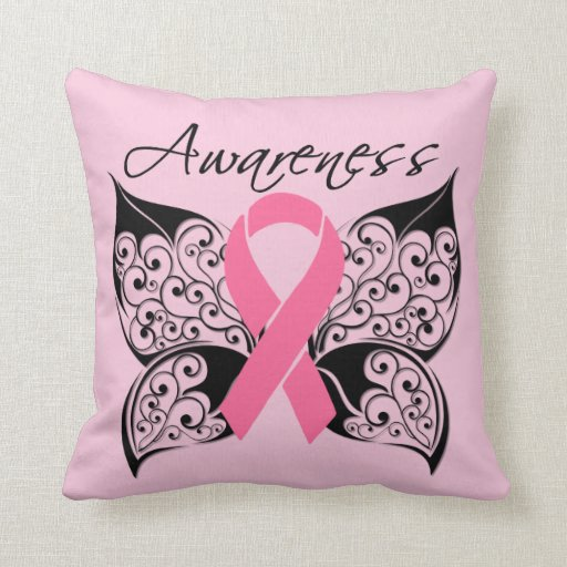 Breast Cancer Butterfly Ribbon Throw Pillow