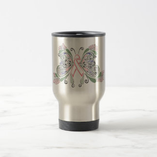 Breast Cancer Butterfly Travel Mug
