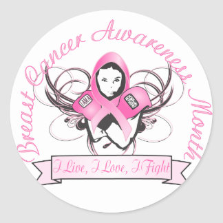 Breast Cancer buttons Classic Round Sticker