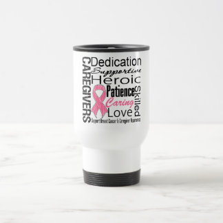 Breast Cancer Caregivers Collage 15 Oz Stainless Steel Travel Mug