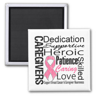 Breast Cancer Caregivers Collage 2 Inch Square Magnet