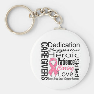 Breast Cancer Caregivers Collage Basic Round Button Keychain