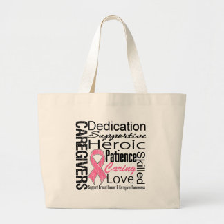 Breast Cancer Caregivers Collage Jumbo Tote Bag