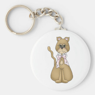 breast cancer cat key chains