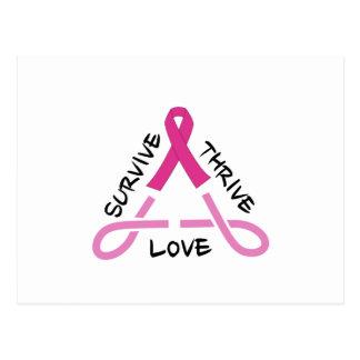 Breast Cancer Celtic Triangle - Survive,Thrive,Lov Postcard