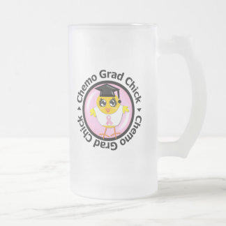 Breast Cancer Chemo Grad Chick Frosted Glass Beer Mug