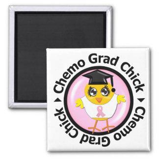 Breast Cancer Chemo Grad Chick 2 Inch Square Magnet