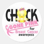 Breast Cancer Chick Gone Pink 2 Round Sticker