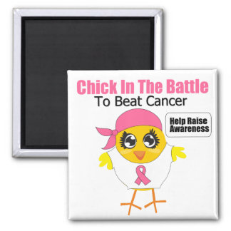 Breast Cancer Chick In the Battle to Beat Cancer 2 Inch Square Magnet